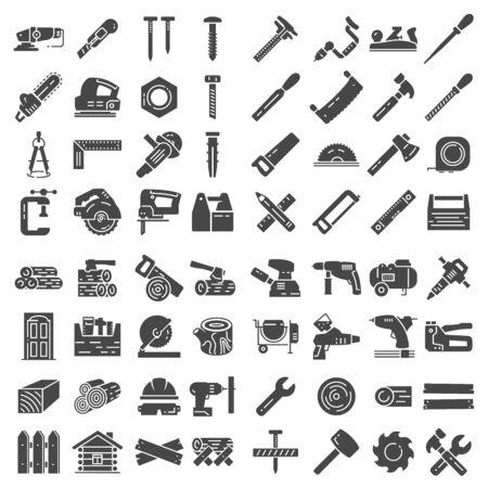 Carpentry industry equipment icons flat set on white background Çizim