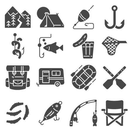 Fishing vector illustration icon set on white background