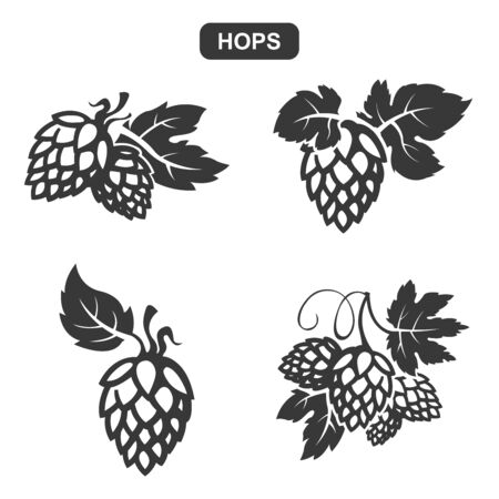 Vector Black Hops Silhouette Icons Set on White Background Ilustração