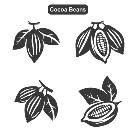 Vector Black Cocoa Beans Icons Set on White Background Ilustrace