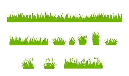 Set of isolated green grass design flat vector illustration on white background