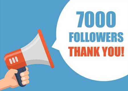 7000 Followers Thank You - Male hand holding megaphone Ilustracja