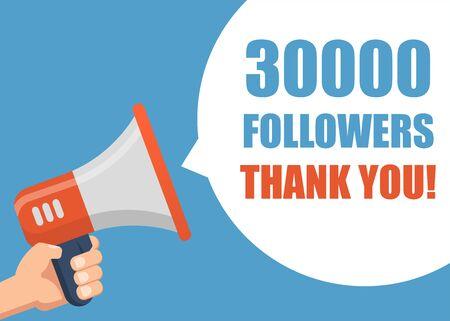 30000 Followers Thank You - Male hand holding megaphone Ilustracja