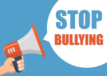 Stop Bullying - Male hand holding megaphone. Flat design. Can be used business company for social media, networks, promotion and advertising.