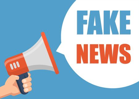 Fake News - Male hand holding megaphone. Flat design. Can be used business company for social media, networks, promotion and advertising.