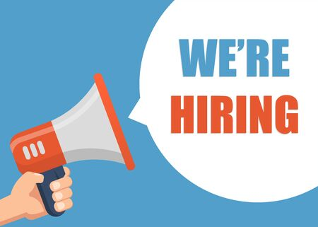 We'Re Hiring - Male hand holding megaphone. Flat design. Can be used business company for social media, networks, promotion and advertising.
