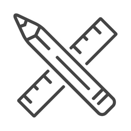 Pencil and ruller line icon on white background