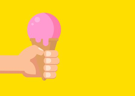 Hand Holds an Ice Cream in a Waffle Cone Illustration