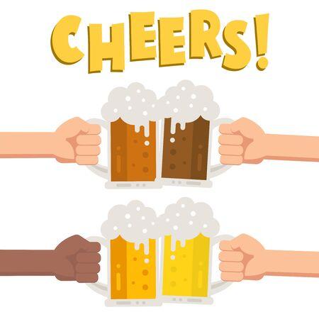 Set of hands holding glass of beer. Illustration