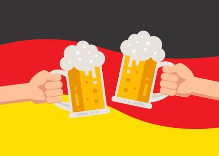 Hands holding up beer mugs Oktoberfest celebration Illustration