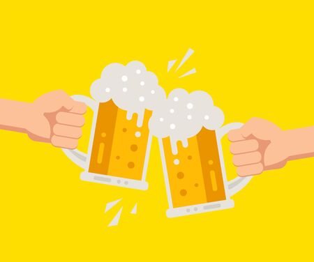 Two hands holding beer glasses with foam. Illustration