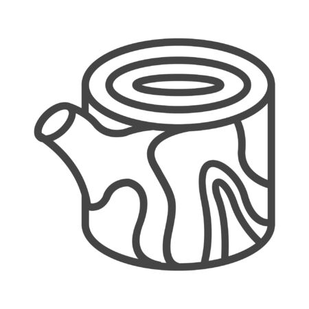 Tree stump line icon on white background