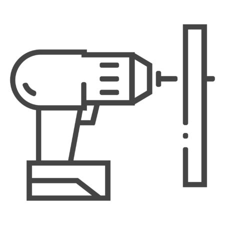 Carpentry drill line icon on white background