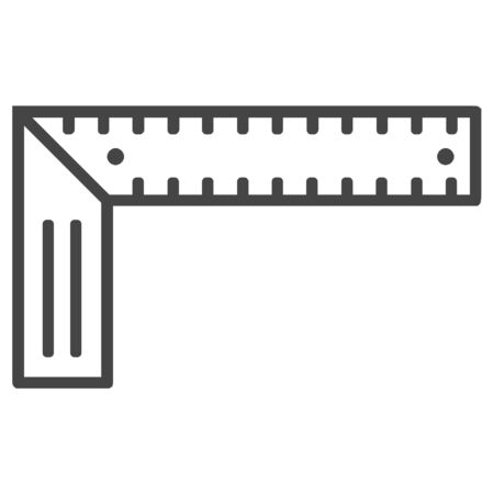 Angle ruler, square ruler line icon on white background