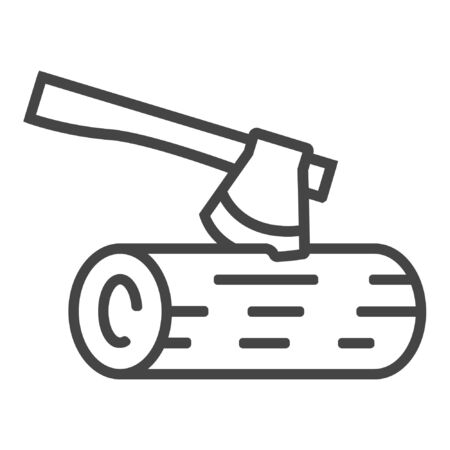Cutting tree with hand saw line icon on white background Illustration