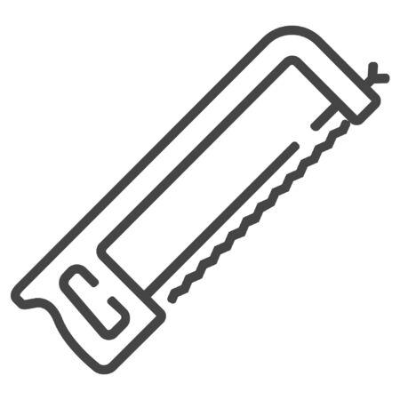Metal handsaw line icon on white background Illustration