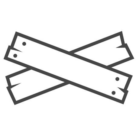 Wood plank line icon on white background
