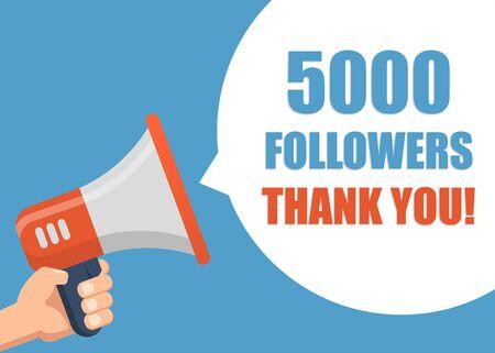 5000 followers Thank You - hand holding megaphone.