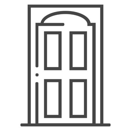 Home door line icon on white background