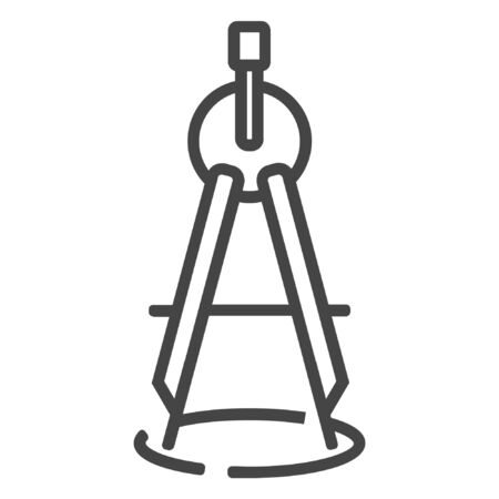 line carpentry compass woodwork icon on white background