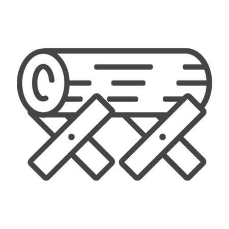 Wood log line icon on white background