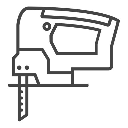 Electric jig saw line icon on white background Ilustracja