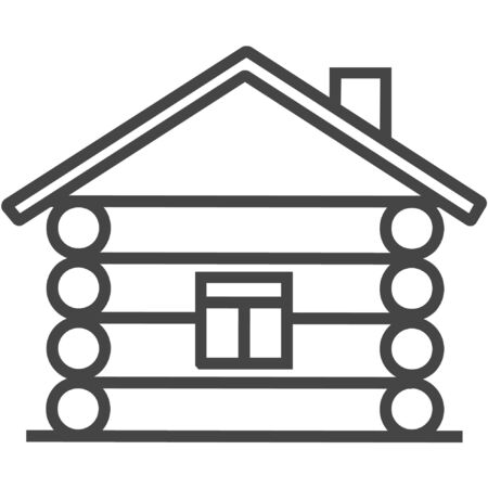 Wood house line icon on white background