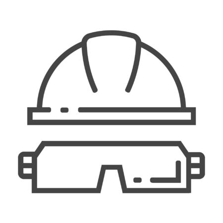 Helmet and google line icon on white background