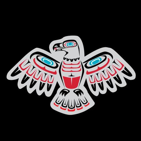 nações: Nativo americano, arte águia First Nations com cores e formas da Costa Salish