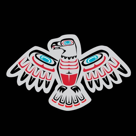 Native American, First Nations eagle art featuring Coastal Salish colors and forms Illustration