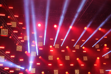 Searchlights on the stage with the rays of light coming from them Stock Photo