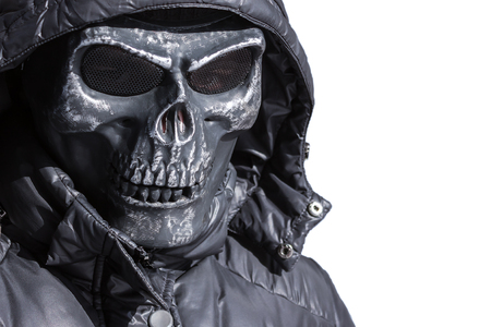 Iron mask on a white
