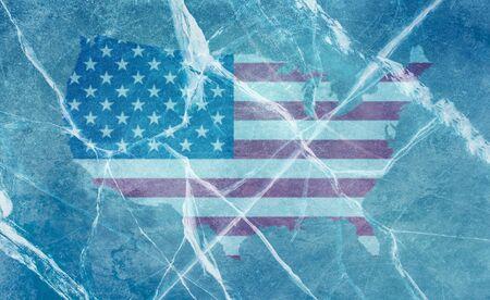Stock illustration USA flag under ice