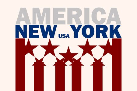 Poster in the style of the American flag with the text and the name New York on a beige