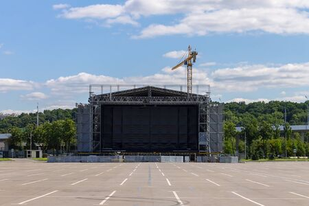 Stage preparation for the city open-air music festival