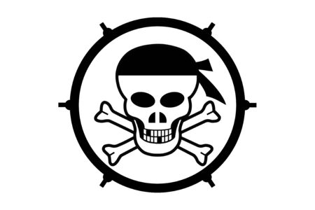 Pirate on a white  in a circle