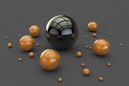 3D balls with a glossy coating on a gray empty