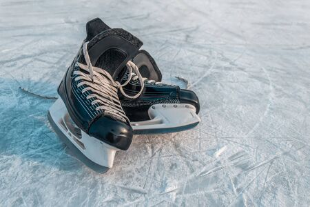 Winter sports skates are on the ice. Winter sports equipment