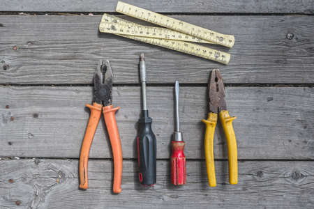 A set of household and auxiliary tools for home and workshop renovation 版權商用圖片
