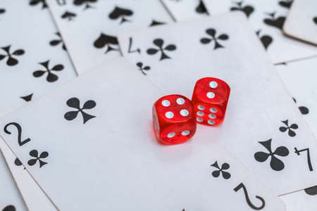 Dice and cards casino game. Successful combination and winning in gambling
