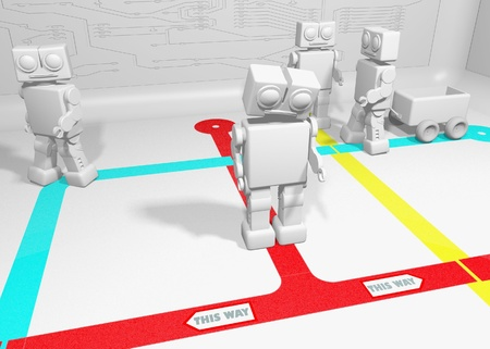 Robot cant decide which way to go because of opposing directions Stock Photo - 8218737
