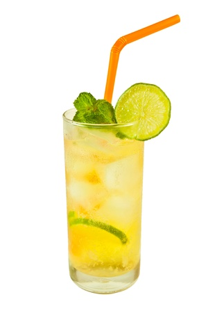 Refreshing cold lemon tea with fresh lime slices and ice.  photo
