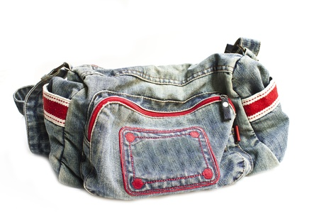 Jeans houlder bag isolated on white background photo