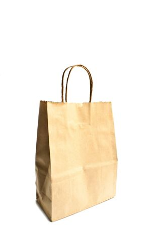 carrier bag: Carrier Paper Bag Brown isolate on white background Stock Photo