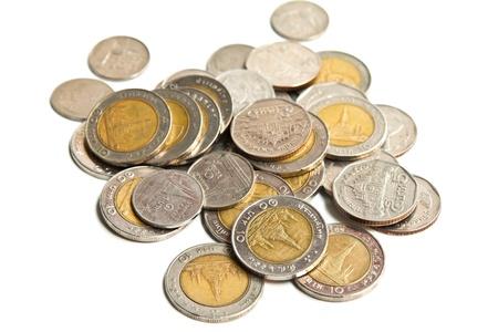 pennie: Coin thai bath on white background