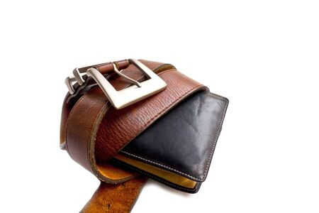 Wallet full of money, but restricted with belt Stock Photo - 18084538