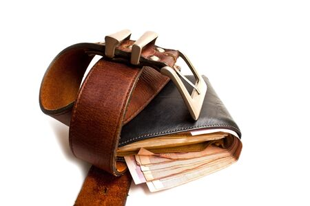 Wallet full of money, but restricted with belt Stock Photo - 18084536