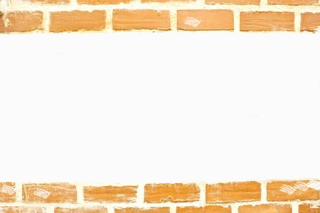 White card background with brick wall framing  photo