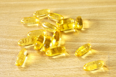 primrose oil: Fish oil - evening Primrose oil, a Healthy supplement Stock Photo