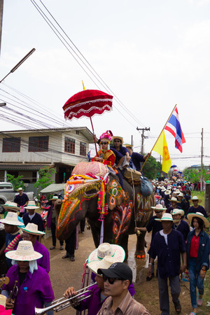 SUKHOTHAI - APRIL 7   Songkran Festival and Hadxiao Elephant Ordains at Si Satchanalai from April 7 to 8, Riding on elephant and Thai Puan elephant ordination on April 7, 2014 in Sukhothai